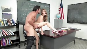 Experienced instructor and skinny partisan have hazard in class