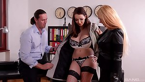 Crazy office threesome with super models Kyra Hot and Lucie Wilde