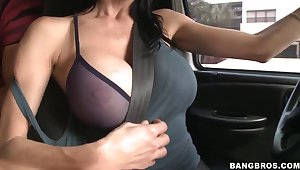 Car recreation with a really busty mama and her boy