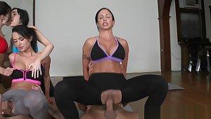 CFNM yoga MILFS pussyfucking by way of class