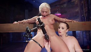 Lesbian permanent fuck with machines is a reverie of hot Bella Rossi