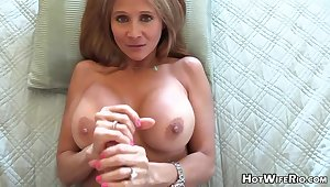 Mature blond housewife with phat milk globes is frolicking with their way paramour's rock rigid manstick