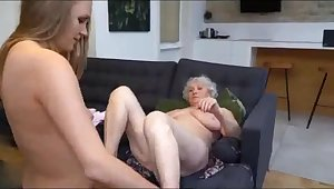 Depraved grandmother with a lesbian neighbor on the couch
