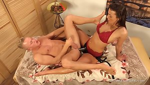 Erotic massage with eccentric Lucy Vojak ends up with anal polishing for dude