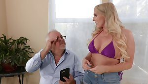 Nothing pleases this blonde beauty better than a senior cock on Viagra