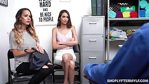 Supermarket security fucks despondent mature mommy and her of age stepdaughter