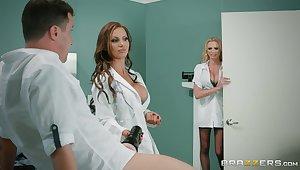 Premium nurses are enjoying a pretty big dick in a hot threesome