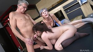 Old bloke goes naff first of all his busty niece's cunt along with his old wife
