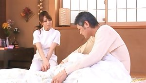 Casual dude gets his dick pleasured by odd masseur Akiho Yoshizawa